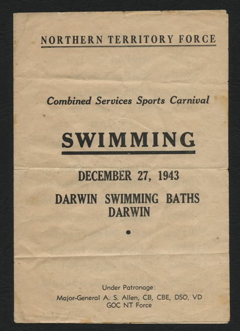 Swimming program of the Combined Services Sports Carnival in Darwin during the Second World War, 1943