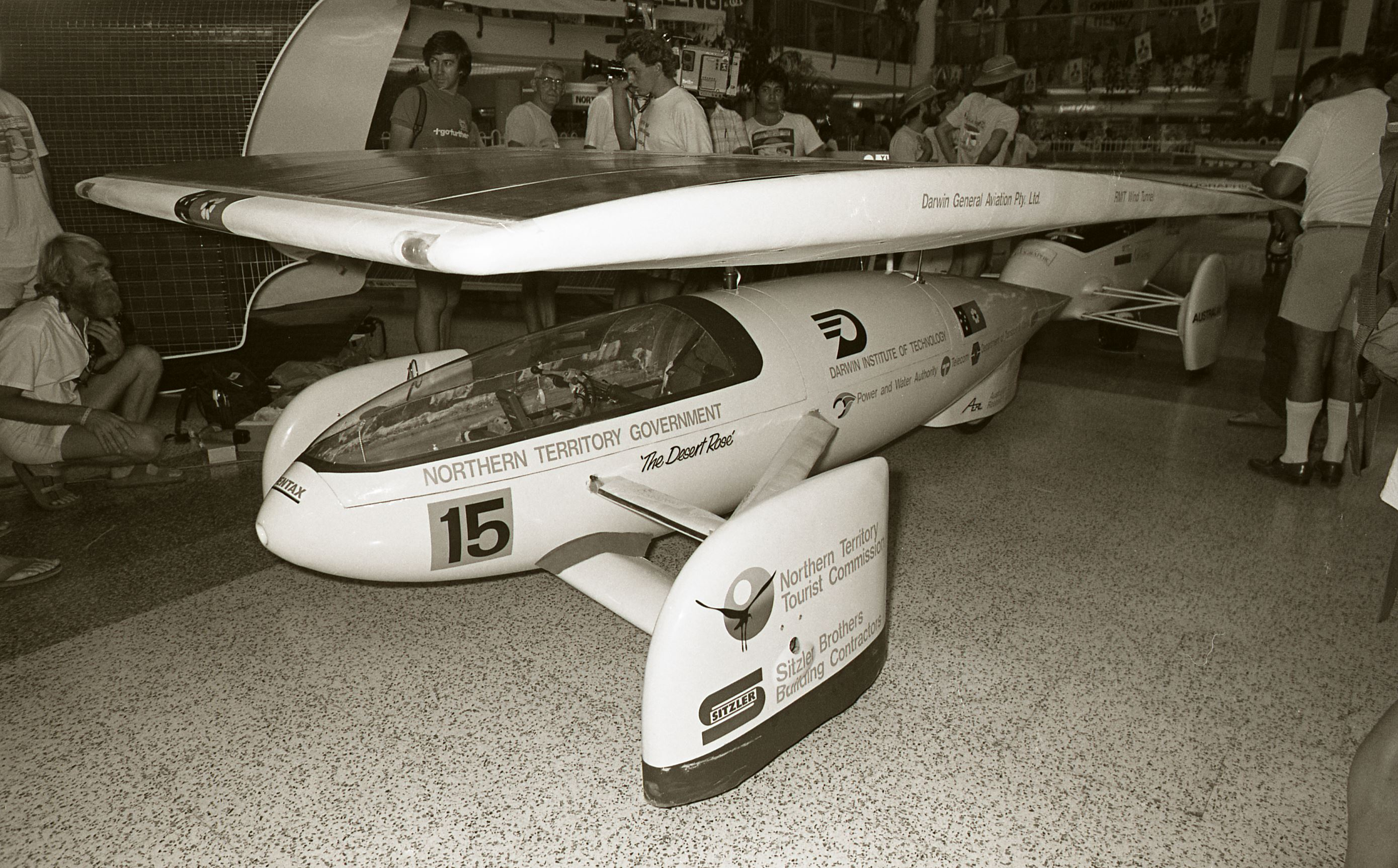 [Solar Cars on display at Casuarina Square, 30 October 1987] <br />Image courtesy of Northern Territory Archives Service, Department of Chief Minister, NTRS 3823, Item BW2685, 30.