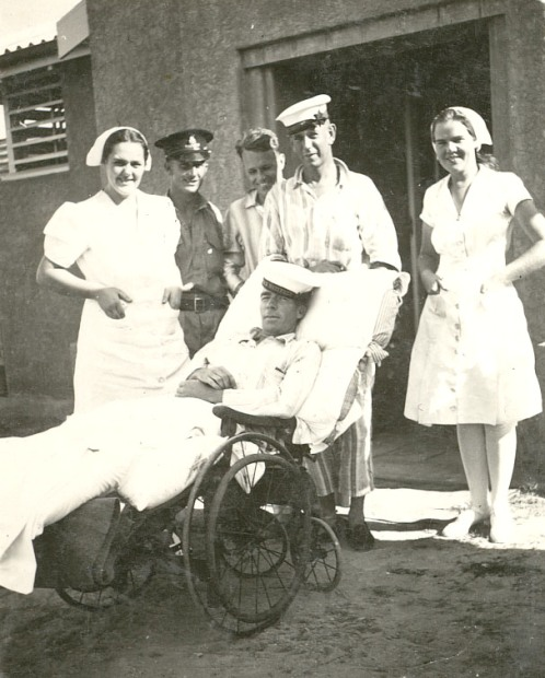 Patient and staff at Kahlin Hospital (Darwin Hospital), Betty Duke on the left