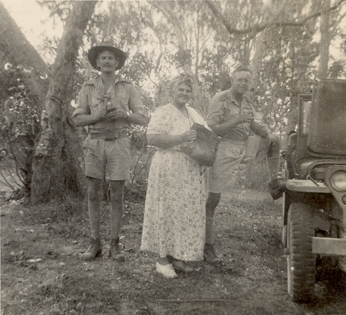 Wing Commander D'Arcy - Wentworth, Eileen (Fitzer) and self (Eaton), Daly River, 1944