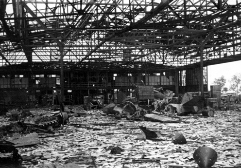 Extreme damage to the hangars