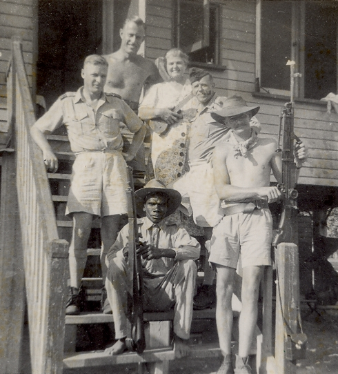Eileen Fitzer with several men, 1944