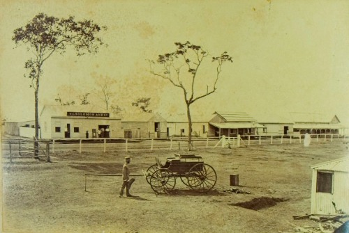View in Mitchell Street, Palmerston (three men standing in doorway to VL Solomon and  Co's store, one man standing in foreground next to a cart, the Government Secretary's office is the building to the far right)