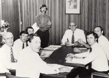 Members of Executive – standing: (Graeme Munro); seated around the table; front: unknown; left: Ian Tuxworth, James Robertson, PE Everingham; top: HHA John England; right: Roger Steel, Marshall Perron