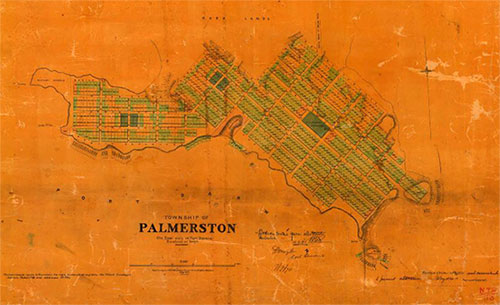 Township of Palmerston on East side of Port Darwin, Hundred of Bagot. Portion tinted green allotments selected 16.9.1870. NAA, A6128, NTR113