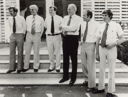 Members of the Executive Council and the Administrator on the steps of Government House